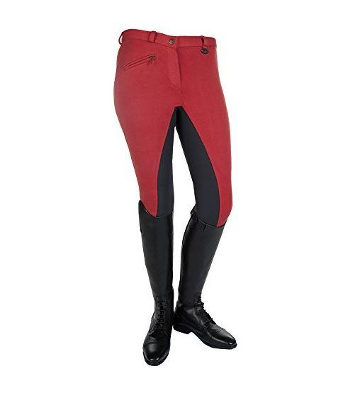 Pantalón equitación bicolor rojo y negro niño