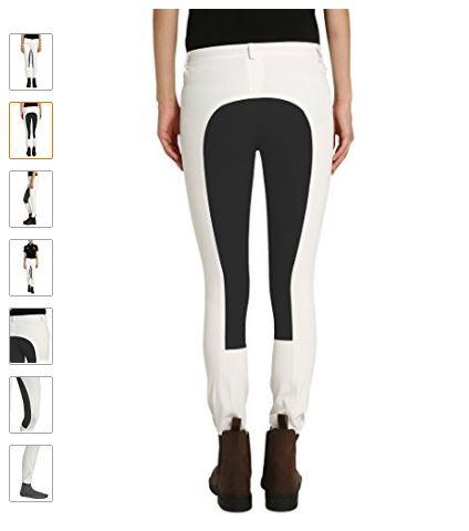 Pantalón equitación mujer bicolor blanco y negro